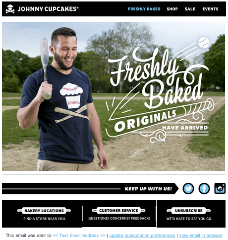 Creative Sample from Johnny Cupcakes Email Marketing Article